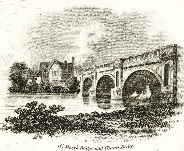 St Mary's Bridge Chapel and Bridge over the River Derwent, St Mary's Bridge, c 1800