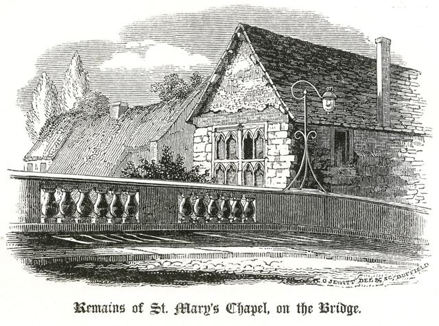 Remains of St Mary's Chapel, on the Bridge, over the River Derwent, St Mary's Bridge, c 1800