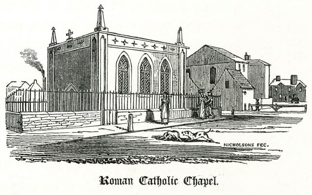 Roman Catholic Chapel, Chapel Street and Orchard Street, c 1827