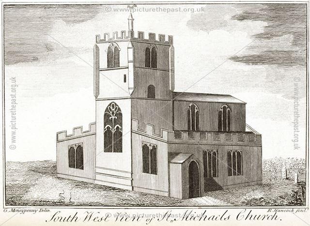 Soutwest view of St Michael's Church, Queen Street, pre 1856