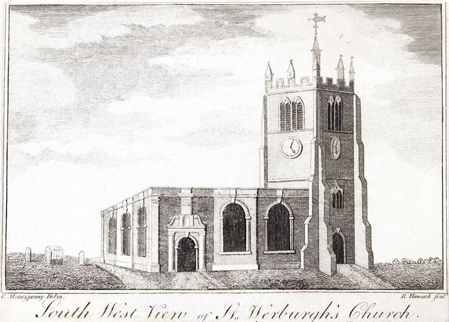 Southwest view of St Werburgh's Church, Cheapside, c 1791