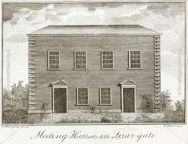 'Meeting House in Friar Gate' (Unitarian - Presbyterian Chapel), c 1791