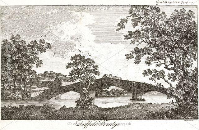 Duffield Bridge crossing the River Derwent, Makeney Road, Duffield, 1972