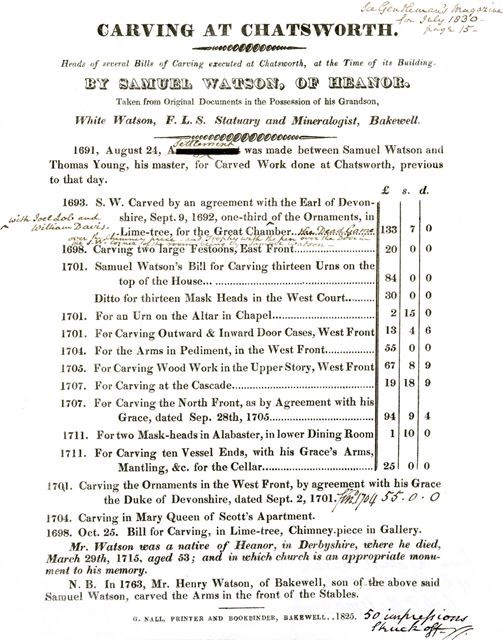 Bill for carving works completed at Chatsworth, 1825