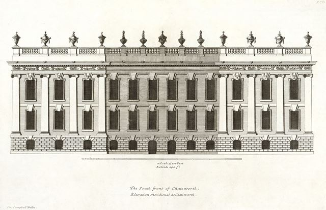 South front of Chatsworth House, c 1800