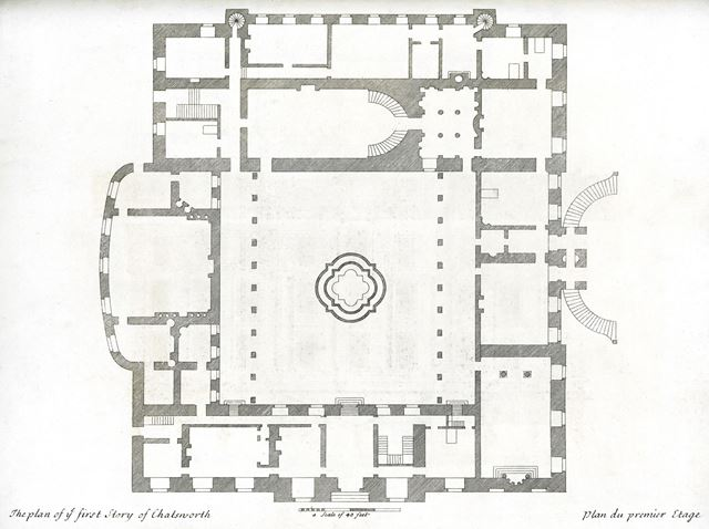 Plan of the first story of Chatsworth House, Chatsworth Estate, c 1800?