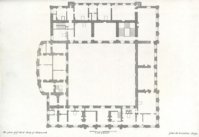 Plan of the third story of Chatsworth House, Chatsworth Estate, c 1800?