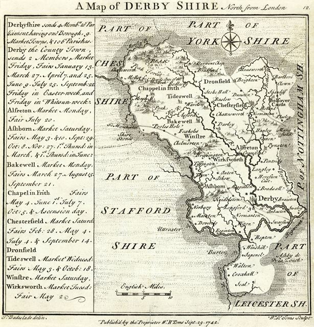 Map of Derbyshire with Market Dates, c 1742
