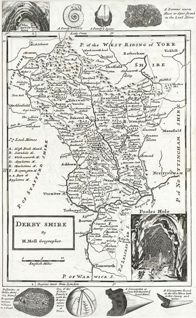 Map of Derbyshire by H. Moll, 1724