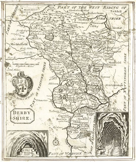 Map of Derbyshire by John Hutchinson, 1809