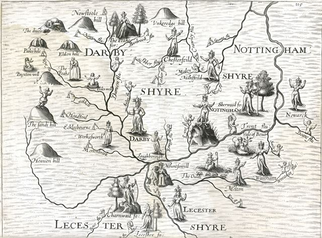 Map of Counties of Derbyshire, Notts and Leicestershire, 1612