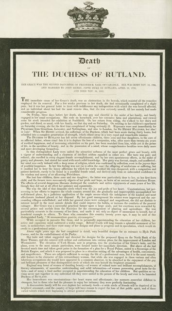 Report of the Death of Elizabeth Manners (nee Howard), Duchess of Rutland, 1825