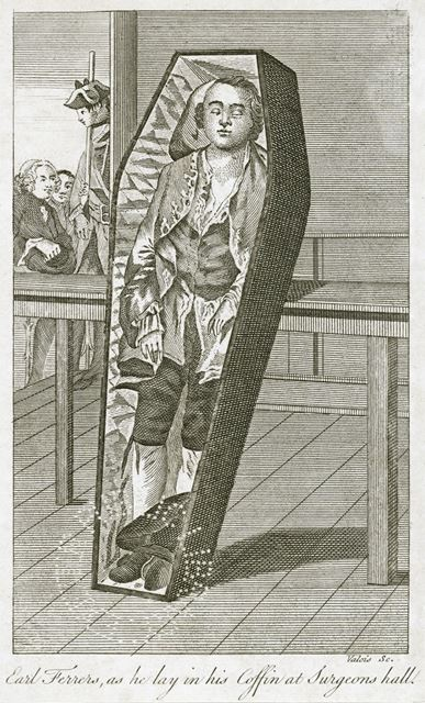 Earl (Laurence) Ferrers (1720-1760) as he lay in his Coffin at Surgeons Hall, c 1760