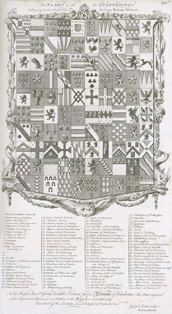 Names of all the Quarterings of Right Hon George Baron Vernon of Sudbury Hall, Sudbury, c 1764-86