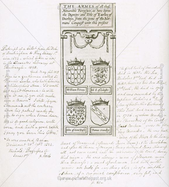 Armes of Earles of Derbye, c 1610