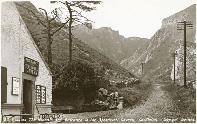 Entrance to Speedwell Mine, Winnats Pass, Castleton, c 1902