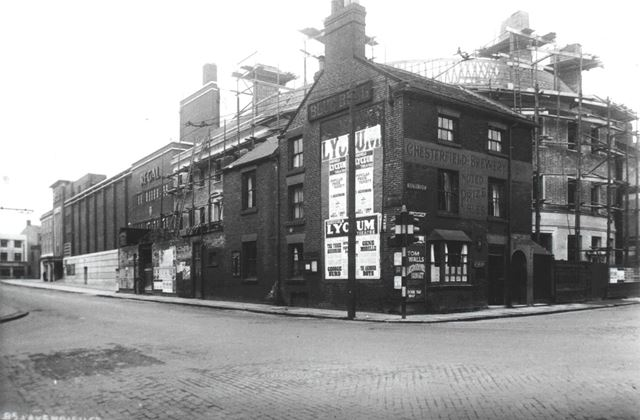 Building of new Blue Bell Inn, corner of Cavendish Street and Saltergate, Chesterfield, c 1936