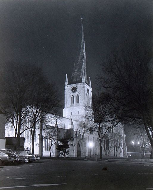 St Mary's and All Saint's Parish Church at night, St Mary's Gate, Chesterfield, c 1960?