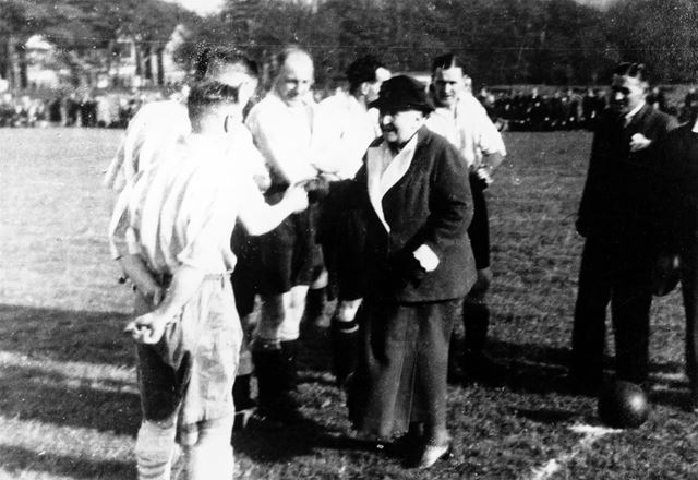 Charity Football Match in the Grammar School Fields, Chesterfield Road-Green Lane, Dronfield, c 1948