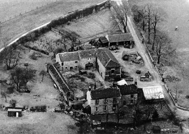 Aerial view of Nether House Farm on Quarry Road, KIllamarsh, c 1970s?
