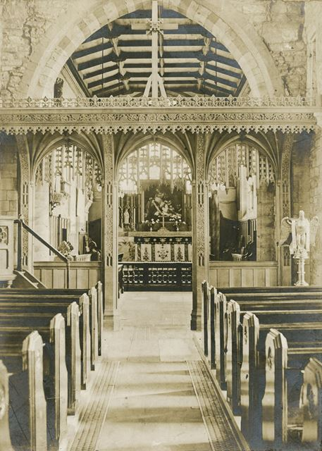 Interior of St. Peter and St. Paul, Parish Church, Eckington, c 1900s ?