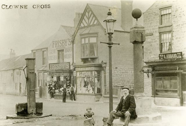 The Cross and village water pump, Church Street, Clowne, c 1900s