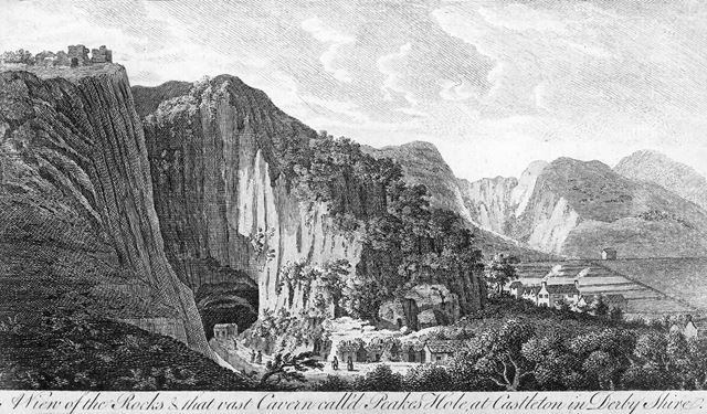A view of the Rocks and that vast cavern call'd Peake's Hole, at Castleton in Derby Shire