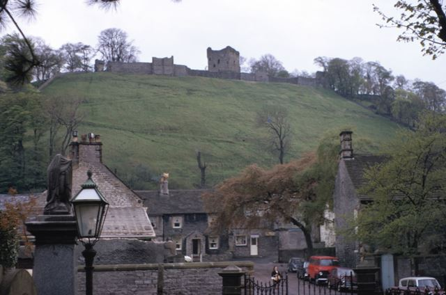 Castle Street and Peveril Castle, Castleton, c 1969