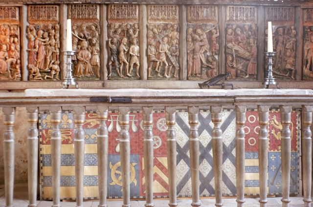 Reredos in Chapel, Haddon Hall, c 1969