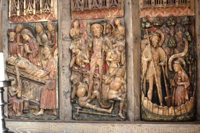 Detail of reredos in Chapel, Haddon Hall, c 2002