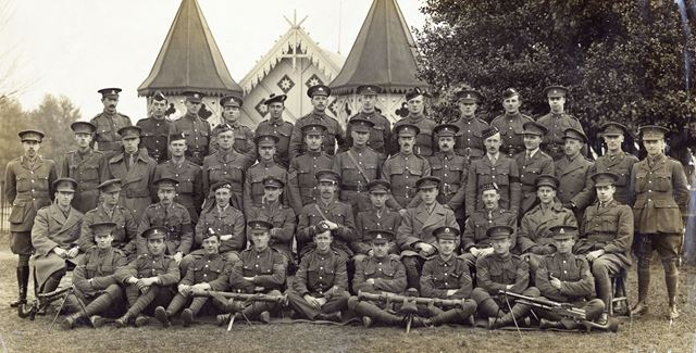 Machine Gun Corps, including C S Wright, far right in second row at Belton Park, Belton, Lincolnshir
