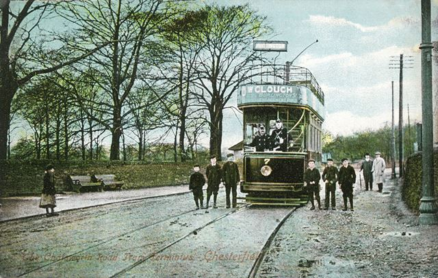 Chesterfield Corporation tramcar No 7 at Brampton Terminus, Chatsworth Road, Chesterfield, c 1907 ?