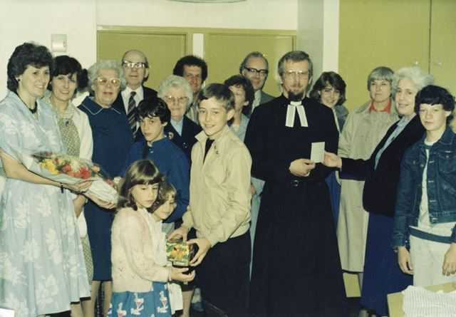 Rev Martin Stillwell moving from Methodist Church, Holymoorside, 1984