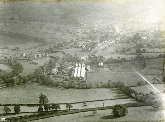 Aerial view showing Ferodo Works and Hayfield Road, Chapel en le Frith, 1924