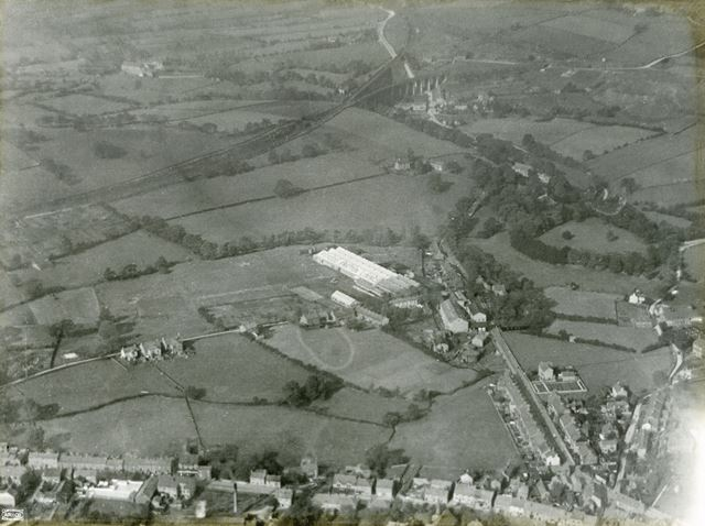 Aerial view showing the Ferodo Works and Hayfield Road, Chapel en le Frith, 1924