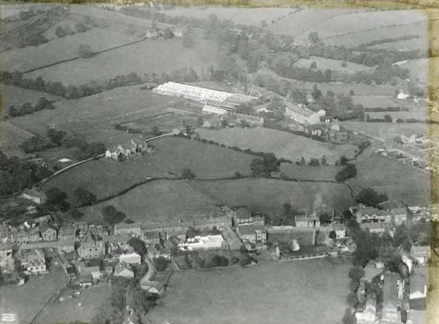 Aerial view showing Market Street and the Ferodo Works, Chapel en le Frith, 1924