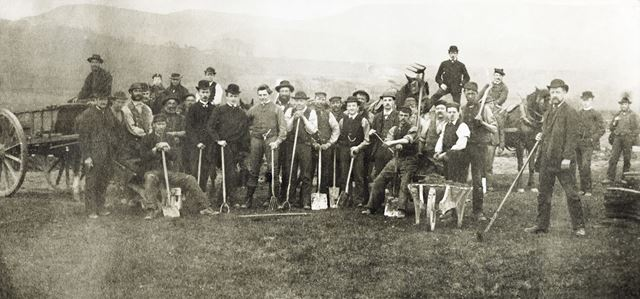 Digging the new cricket ground, Chapel en le Frith, c 1890
