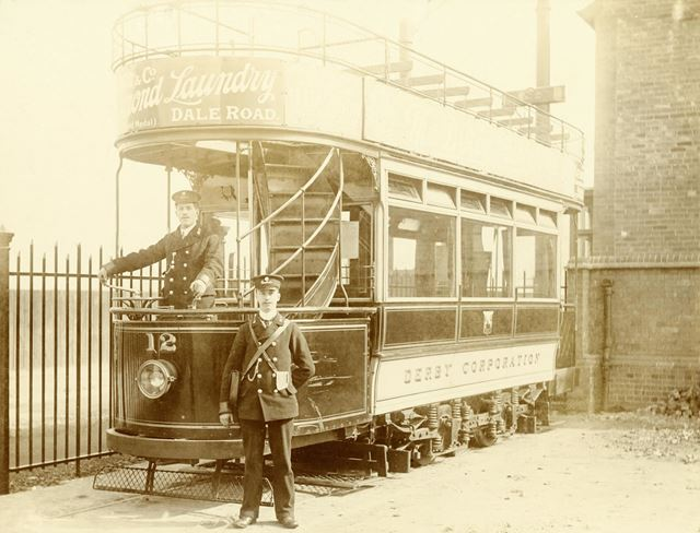 Tram at Depot with crew