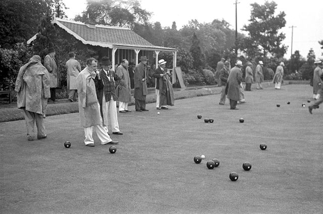A game of Bowls at the company bowling green. Stanton Works