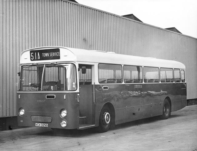 Trent Motor traction single deck bus No 325 at the bus garage