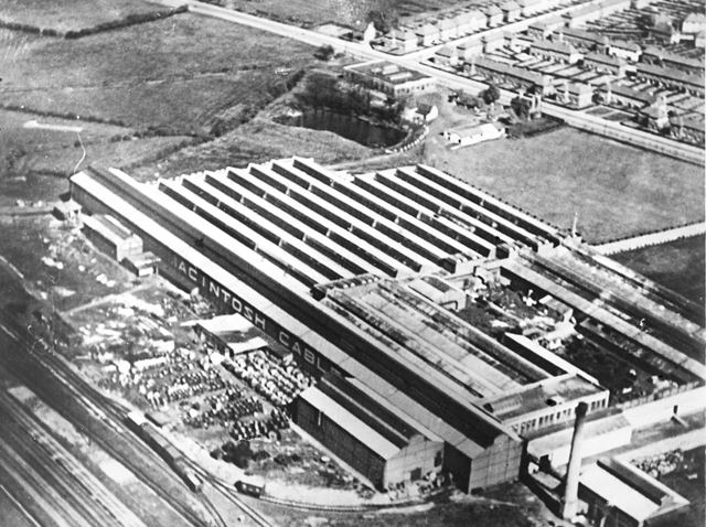 Aerial view of the Mackintosh Cables Factory