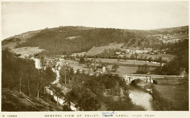 General view of the Derwent valley showing The Cromford canal and Leawood pumping station
