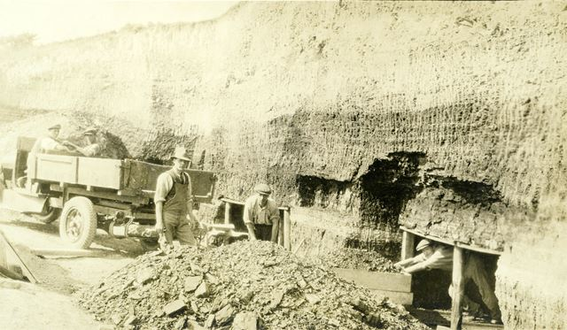 Outside the clay mine, at the brick and sanitary pipe works of W H and J Slater, Denby