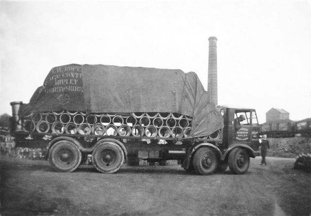 An Armstrong-Saurer lorry at the brick and sanitary pipe works of W H and J Slater, Denby