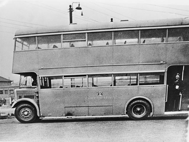 Derby Corporation's Bristol K5G no 74 motor bus, painted in wartime grey.