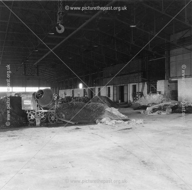 Interior of garage during conversion