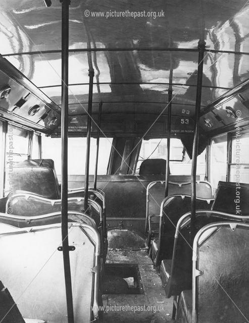 Collision damage to a Derby Corporation motor bus No. 53, 1948