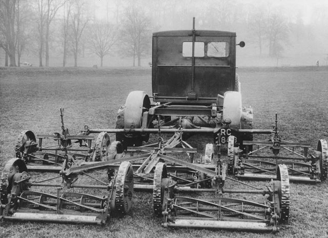 Derby Corporation motor lorry and gang mower.