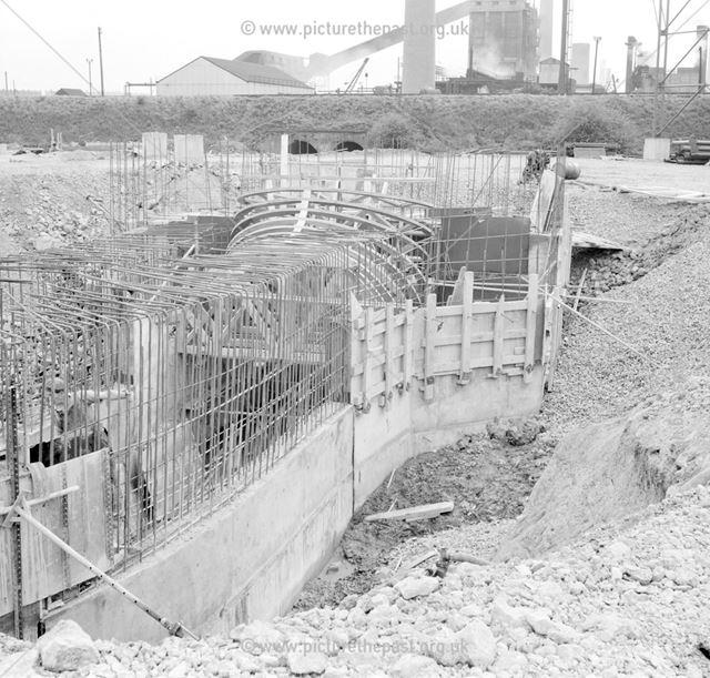 Construction of Ore Preparation Plant - steel framework for the chimney flue