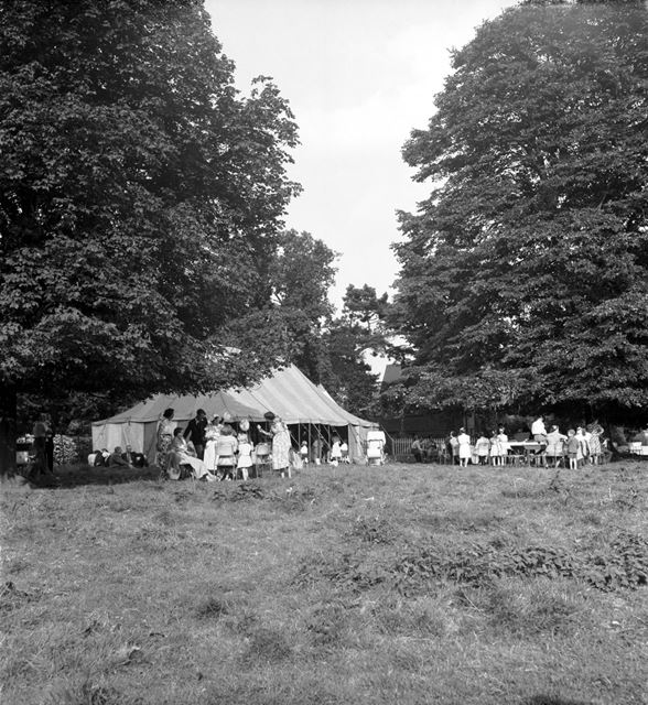 A marquee among the trees at a Stanton Works Annual Flower Show